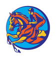 horse riding riding with jockey vector image vector image