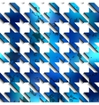 Hounds-tooth blue pattern on white background vector image