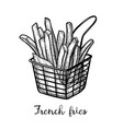 ink sketch french fries vector image vector image
