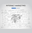 internet marketing concept with business doodle vector image