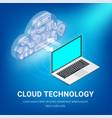 isometric cloud services concept laptop vector image