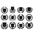 medieval shields and laurel wreath collection vector image vector image