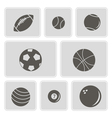 monochrome icons with sports balls vector image vector image