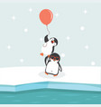 north pole arctic with penguins holding balloon vector image vector image