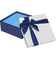 open gift box with blue bow vector image vector image