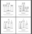 pharmacy pills in bottles set vector image vector image
