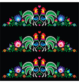 Polish folk art embroidery with roosters - traditi vector image vector image