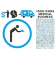 servant icon with 1000 medical business symbols vector image vector image