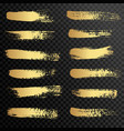 set gold paint ink brush strokes brushes vector image vector image