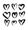 set of black hand drawn heart vector image vector image