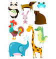 set of different cute animals on white board vector image vector image