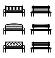 Set of silhouettes of benches