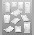 set white paper paying bill vector image vector image