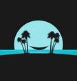 silhouette of palms with a hammock on the beach vector image