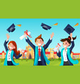 students throw graduation hats in air vector image