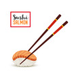 sushi - orange salmon fillet rice vector image vector image