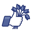 thumbs up icon with bunch flowers vector image vector image