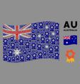 waving australia flag mosaic award icons vector image vector image
