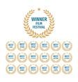 winner film festival - set badges on white vector image