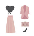 woman clothing set with shoe and handbag vector image vector image