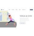 yoga flat landing page template fitness vector image vector image