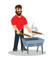 young cheerful man cooking vegetables meat on vector image vector image