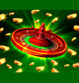 casino roulette big win coins background vector image