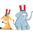 Democrat Donkey and Republican Elephant Election vector image
