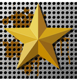 Gold star on a metal background with holes vector image