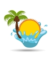 sun water splash palm summer vacation vector image