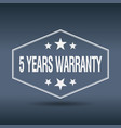 5 years warranty hexagonal white style label vector image vector image