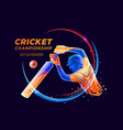 abstract of batsman playing vector image
