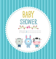 Baby shower invitation card template on blue vector image vector image