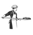 baker taking out with shovel bread from oven vector image vector image