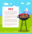 bbq poster and mountains vector image vector image