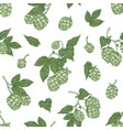 botanical seamless pattern with fresh organic hop vector image vector image