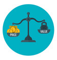 business measurement of price and value with scale vector image