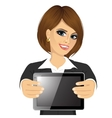 businesswoman displaying tablet vector image vector image