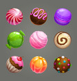 candy balls set round sweet assets for game vector image