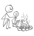 cartoon father and son sitting around fire or vector image vector image