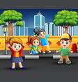 cartoon happy children on sidewalk vector image vector image