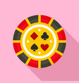 casino chip lucky icon flat style vector image