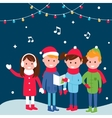 Children Wearing Warm Winter Coats Sing Carols on vector image vector image