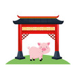 chinese red gate vector image vector image