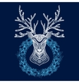 Christmas Wreath With Deer Head vector image