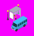 city public transport minibus 3d isometric view vector image