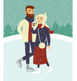 couple skating on outdoor ice rink vector image vector image