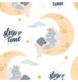 cute unicorn sleeping at cloud in hat vector image