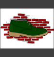 Derby green shoe lace on a red brick wall