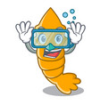 diving fresh raw shrimps on character cartoon vector image
